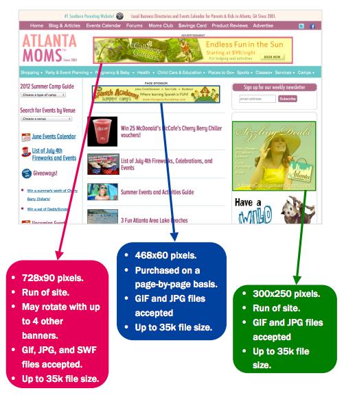 Atlanta Moms Button and Banner Advertising